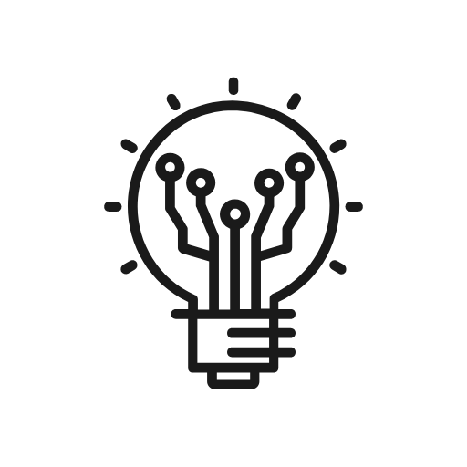 icon of a lightbulb with a circuit